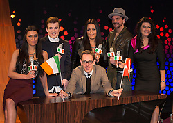 Repro Free: 27/06/2013 Eurovision hopefuls Kasey Smith, Eoghan Quigg, Laura O'Neill, Andrew Mann and Patricia Roe are all pictured with on the set of the Late Late Show with presenter Ryan Tubridy. The five acts competing to represent Ireland in this year's Eurovision in Copenhagen, Denmark met for the first time today. The five songs will be performed live on The Late Late Show tomorrow night on RTE One from 9:35. Picture Andres Poveda