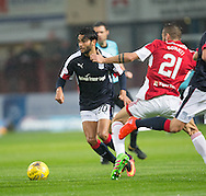 Dundee&rsquo;s Faissal El Bakhtaoui goes past Hamilton&rsquo;s Massimo Donati- Dundee v Hamilton Academical in the Ladbrokes Scottish Premiership at Dens Park<br /> <br />  - &copy; David Young - www.davidyoungphoto.co.uk - email: davidyoungphoto@gmail.com