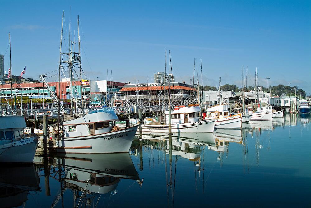 Fishing boats at dock in Fishermans Wharf-San Francisco, CA