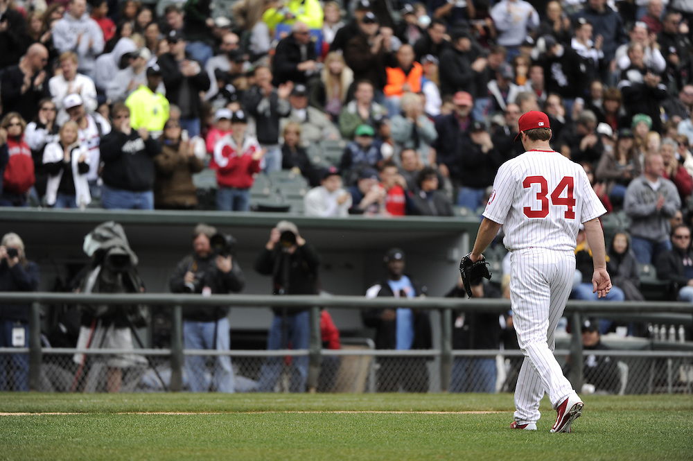 CHICAGO - APRIL 29:  Gavin Floyd #34 of the Chicago White Sox walks off the field after being removed from the game against the Boston Red Sox on April 29, 2012 at U.S. Cellular Field in Chicago, Illinois.  The White Sox defeated the Red Sox 4-1.  (Photo by Ron Vesely)   Subject:  Gavin Floyd