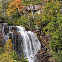 Whitewater Falls and fall foliage. Nantahala National Forest, near Cashiers, North Carolina