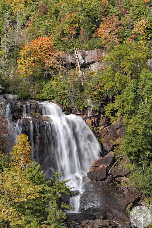 Whitewater Falls and fall foliage. Nantahala National Forest, near Cashiers, North Carolina