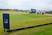 View looking down the first fairway of the Old Course, St Andrews, during the final round of the Alfred Dunhill Links Championships 2018 at West Sands, St Andrews, Scotland on 7 October 2018