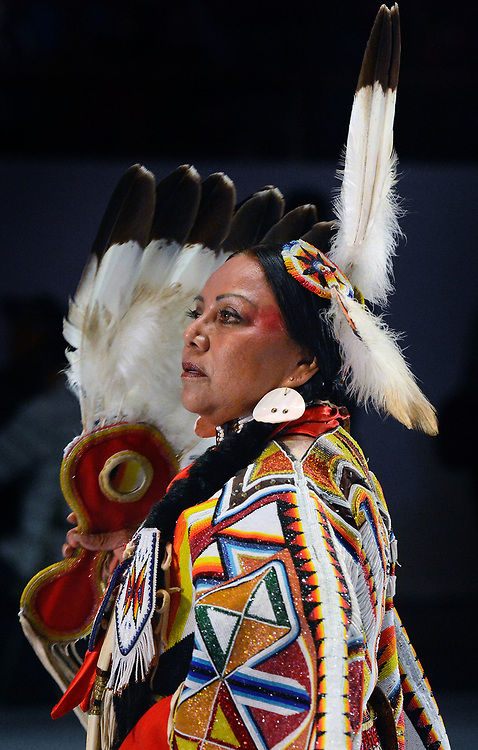 jt042817e/a sec/jim thompson/  Joyce Hayes of Fort Hall ID. dances in the Golden Age Women's Traditional competition at the 2017 Gathering of Nations Pow-Pow held at Tingley Coliseum.   Friday April 28, 2017. (Jim Thompson/Albuquerque Journal)