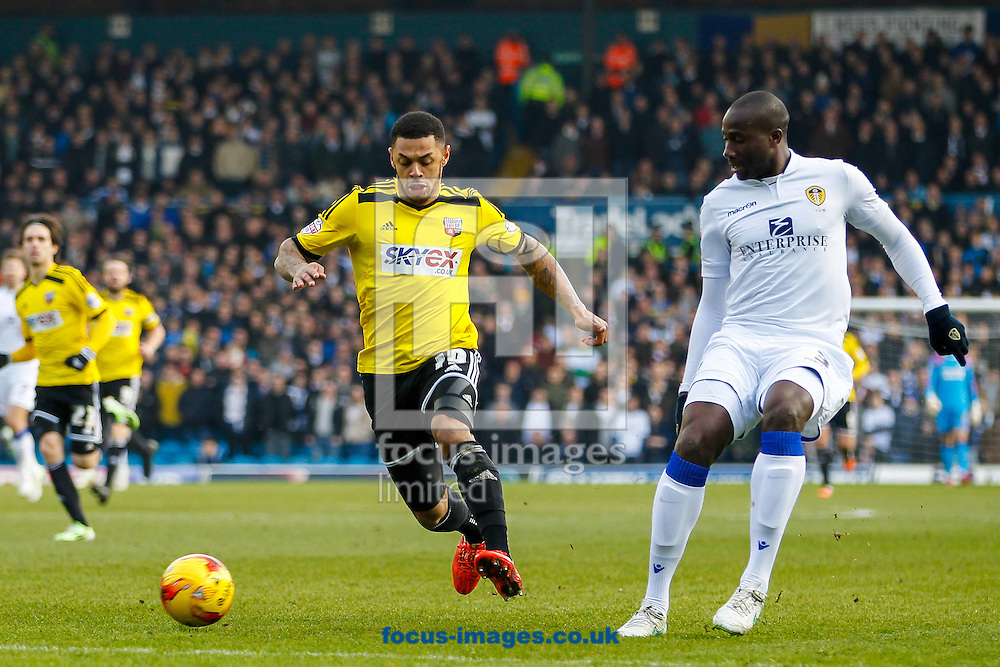 Andre Gray of Brentford and Souleymane Bamba of Leeds United during the Sky Bet Championship match between Leeds United and Brentford at Elland Road, Leeds<br /> Picture by Mark D Fuller/Focus Images Ltd +44 7774 216216<br /> 07/02/2015