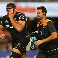 Thomas du Toit of the Cell C Sharks with DR Alan Kourie during the Super Rugby match between the Cell C Sharks and the Southern Kings at Growthpoint Kings Park in Durban, South Africa. 18th March 2017(Photo by Steve Haag Sports)