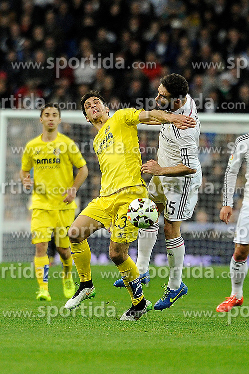 01.03.2015, Estadio Santiago Bernabeu, Madrid, ESP, Primera Division, Real Madrid vs FC Villarreal, 25. Runde, im Bild Real Madrid&acute;s Daniel Carvajal and Villarreal CF&acute;s Gerard Moreno // during the Spanish Primera Division 25th round match between Real Madrid CF and Villarreal at the Estadio Santiago Bernabeu in Madrid, Spain on 2015/03/01. EXPA Pictures &copy; 2015, PhotoCredit: EXPA/ Alterphotos/ Luis Fernandez<br /> <br /> *****ATTENTION - OUT of ESP, SUI*****