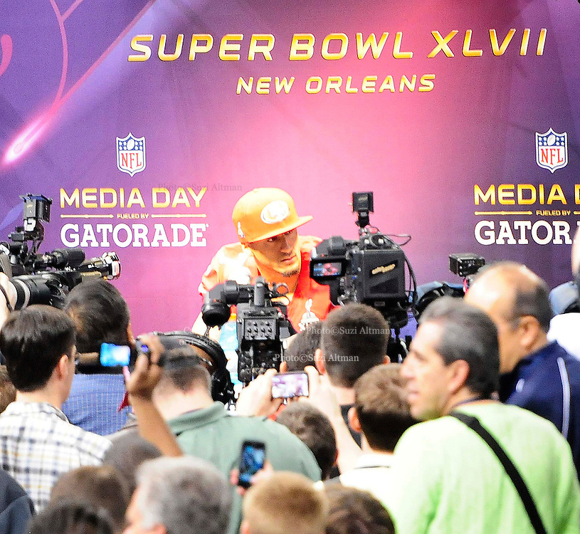 1/29/13 New Orleans LA.-San Francisco QB Colin Kaepernick speaks to the world press at Super Bowl XLV11 Media Day at the the Mercedes Benz Super Dome for the NFC champion San Francisco 49ers's and the AFC Champions  Baltimore Ravens  prior to Super Bowl XLV11 in New Orleans. Photo©Suzi Altman
