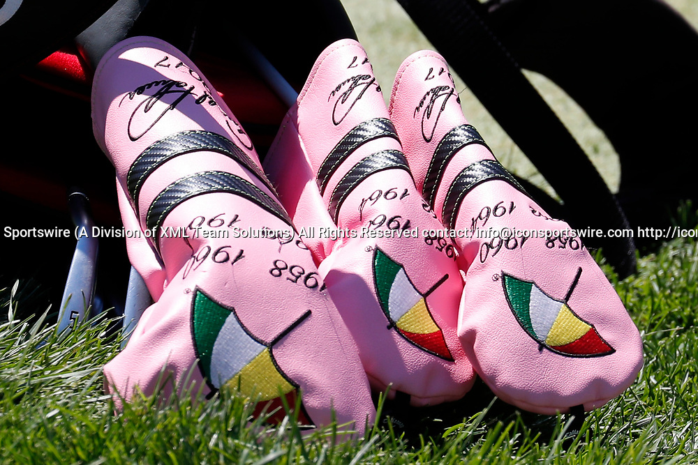 DUBLIN, OH - JUNE 02: A close up of the head covers in PGA golfer Emiliano Grillo's bag which Callaway did to commemorate Arnold Palmer's four Masters wins and seen during the Memorial Tournament - Second Round on June 02, 2017 at Muirfield Village Golf Club in Dublin, Ohio (Photo by Brian Spurlock/Icon Sportswire)