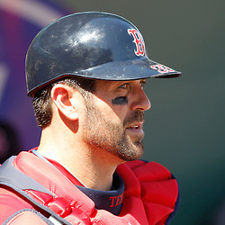 February 28, 2011; Fort Myers, FL, USA; Boston Red Sox catcher Jason Varitek (33) during a spring training exhibition game against the Minnesota Twins at City of Palms Park.  Mandatory Credit: Derick E. Hingle