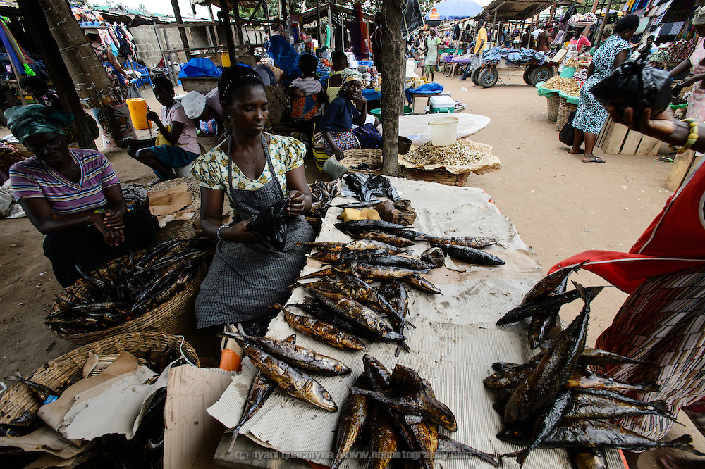 Patience Diaba's participation in a 'Banking on Change' Village Savings and Loan Association (VSLA) has helped her expand her business, smoking and selling fish. She is pictured in the market at Dabala Junction in the Volta Region of Ghana, where she sells fish that she has cured at her home nearby.