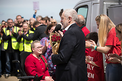 © Licensed to London News Pictures . 07/06/2017. Colwyn Bay, UK. Labour Party leader Jeremy Corbyn holds a campaign rally at Colwyn Bay on the final day of the General Election campaign ahead of polls opening tomorrow (8th July 2017) . Photo credit: Joel Goodman/LNP
