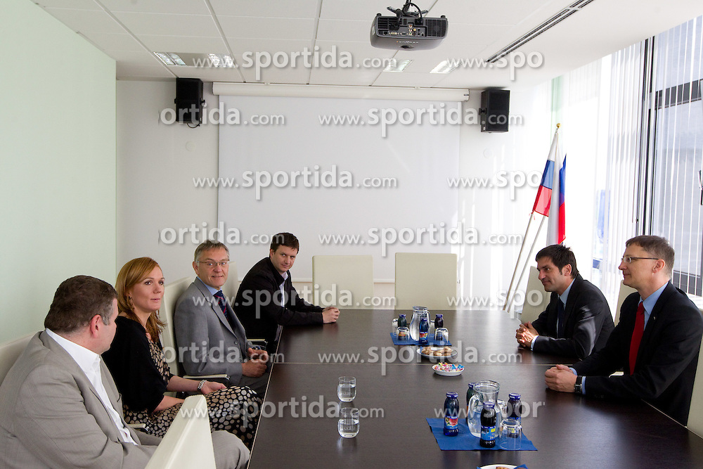 Tomaz Lovse, Petra Majdic, Mitja Praznik, Tomi Trbovc, Marko Rajster  and Igor Luksic at reception of successful cross-country skier Petra Majdic of Slovenia after the end of her sports career at Slovenian Minister for Sport and Education, on April 18, 2011 in MSS, Ljubljana, Slovenia.  (Photo By Vid Ponikvar / Sportida.com)