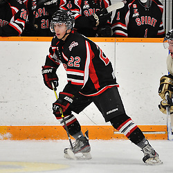 TRENTON, ON - Jan 5 : Ontario Junior Hockey League game between Stouffville Spirit and Trenton Golden Hawks. Jacob Bauchman #22 of the Stouffville Spirit during first period game action..(Photo by Shawn Muir / OJHL Images)