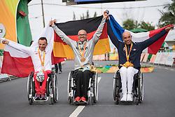Podium, WILK Rafal, H4, POL, Cycling, Road Race, MERKLEIN Vico, GER, JEANNOT Joel, FRA à Rio 2016 Paralympic Games, Brazil