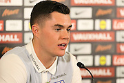 England defender Michael Keane during the England Team Media Conference ahead of the World Cup qualification match against Scotland, at St George's Park National Football Centre, Burton-Upon-Trent, United Kingdom on 8 November 2016. Photo by Aaron  Lupton.