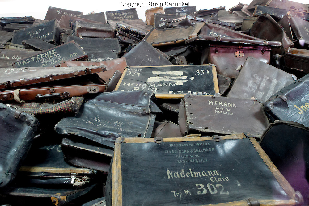 An exhibit with example suit cases that were left behind by victims in Auschwitz Concentration Camp in Poland on Tuesday July 5th 2011.  (Photo by Brian Garfinkel)
