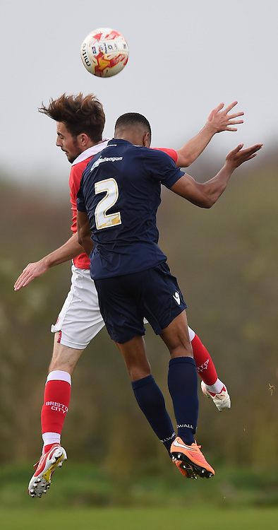 Bristol City's Lewis Hall and Millwall's Josh Siafa compete for a high ball - Photo mandatory by-line: Paul Knight/JMP - Mobile: 07966 386802 - 10/11/2014 - SPORT - Football - Bristol - Failand Training Ground - Bristol City v Millwall - U21 PDL2