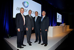 Amcor EGM and GM to discuss and vote on the demerger of Amcor and Orora. At the Melbourne Convention and Exhibition Centre. New Amcor Chairman Graeme Liebelt, CEO Amcor Ken MacKenzie, CEO Orora Nigel Garrard, Out going Amcor<br /> Chairman Chris Roberts,
