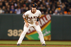 May 24, 2011; San Francisco, CA, USA;  San Francisco Giants catcher Buster Posey (28) leads off second base against the Florida Marlins during the seventh inning at AT&T Park. Florida defeated San Francisco 5-1.