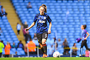Manchester United Women defender Abbie McManus (5) warming up during the FA Women's Super League match between Manchester City Women and Manchester United Women at the Sport City Academy Stadium, Manchester, United Kingdom on 7 September 2019.