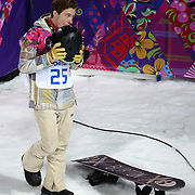 Shaun White, of the USA, reacts after failing to medal in the men's halfpipe at the Rosa Khutor Extreme Park during the Winter Olympics in Sochi, Russia, Tuesday, Feb. 11, 2014. (Brian Cassella/Chicago Tribune/MCT)