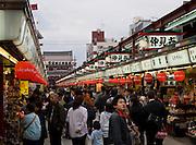 Market stalls on the way to the Senso-ji temple, Asakusa Tokyo.