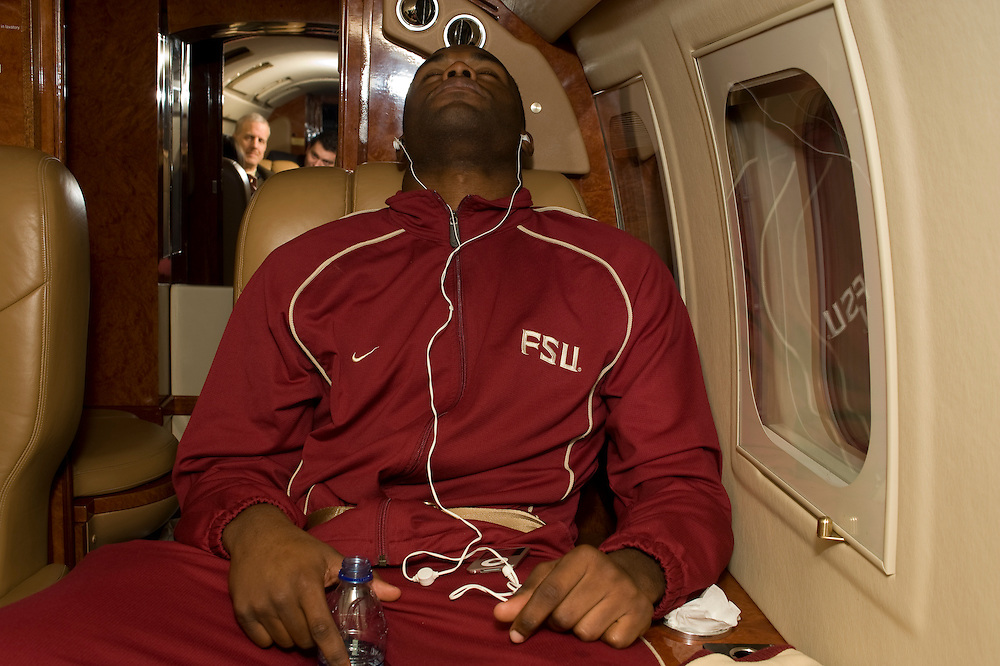 Birmingham, AL - November 22, 2008 - Florida State University football player Myron Rolle relaxes for a bit on the private plane taking him to an away game at the  University of Maryland.  .Photo by Susana Raab,