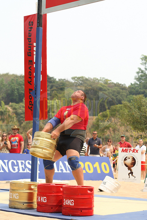 Terry Hollands (UK) in the overhead keg-toss during the final rounds of the World's Strongest Man competition held in Sun City, South Africa.