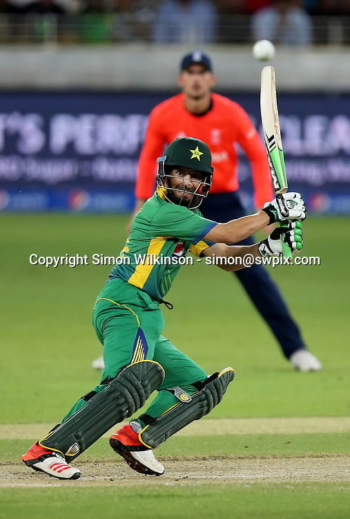 PICTURE BY MARK GREEN/SWPIX.COM  Pakistan v England 1st T20, Dubai Internayional Stadium, UAE, 26/11/15 <br /> Pakistan's Rafatullah Mohmand caught Billings bowled  Plunkett for 16