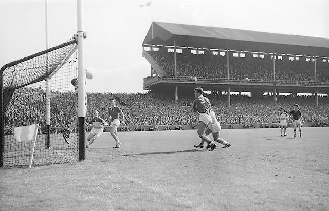 Goalie saves ball at the All Ireland Minor Gaelic Football final Cork V. Offaly in Croke Park on 27th September 1964.