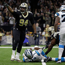 Jan 7, 2018; New Orleans, LA, USA;New Orleans Saints defensive end Cameron Jordan (94) celebrates after sacking Carolina Panthers quarterback Cam Newton (1) during the third quarter in the NFC Wild Card playoff football game at Mercedes-Benz Superdome. Mandatory Credit: Derick E. Hingle-USA TODAY Sports