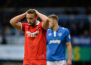 Leyton Orient Midfielder Sammy Moore misses a headed chance during the Sky Bet League 2 match between Portsmouth and Leyton Orient at Fratton Park, Portsmouth, England on 6 February 2016. Photo by Adam Rivers.