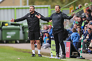 Forest Green Rovers assistant manager, Scott Lindsey and Forest Green Rovers manager, Mark Cooper during the EFL Sky Bet League 2 match between Forest Green Rovers and Accrington Stanley at the New Lawn, Forest Green, United Kingdom on 30 September 2017. Photo by Shane Healey.