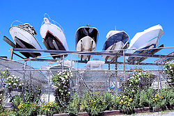 Elevated Boats in Dry Dock, Hyannis, Cape Cod, Massachusetts
