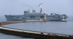 HMS Ocean arrives at the Port of Sunderland for a final farewell before being decommissioned. The Royal Navy's Fleet Flagship is set to be replaced by the brand new aircraft carrier HMS Queen Elizabeth.