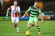 Forest Green Rovers Omar Bugiel(11) on the ball during the EFL Sky Bet League 2 match between Forest Green Rovers and Cheltenham Town at the New Lawn, Forest Green, United Kingdom on 25 November 2017. Photo by Shane Healey.