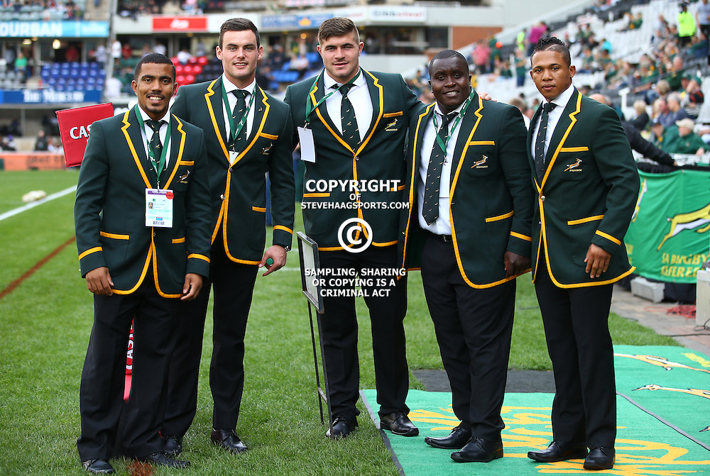 DURBAN, SOUTH AFRICA, 8 October, 2016 - Rudy Paige with Jesse Kriel Malcolm Marx Trevor Nyakane and Elton Jantjies during the Rugby Championship match between South Africa and New Zealand at Kings Park in Durban, South Africa. (Photo by Steve Haag)