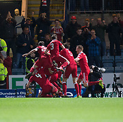 Aberdeen&rsquo;s Andrew Considine is mobbed after completing his hat-trick - Dundee v Aberdeen in the Ladbrokes Scottish Premiership at Dens Park, Dundee. Photo: David Young<br /> <br />  - &copy; David Young - www.davidyoungphoto.co.uk - email: davidyoungphoto@gmail.com