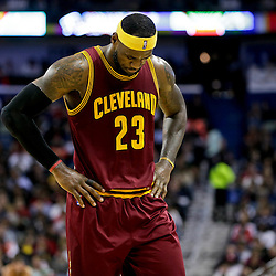 Dec 12, 2014; New Orleans, LA, USA; Cleveland Cavaliers forward LeBron James (23) against the New Orleans Pelicans during the second half of a game at the Smoothie King Center. The Pelicans defeated the Cavaliers 119-114. Mandatory Credit: Derick E. Hingle-USA TODAY Sports