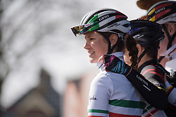 Elena Cecchini and her CANYON//SRAM Racing teammates are presented to the crowds in Dwingeloo at Drentse 8 2017. A 143 km road race on March 12th 2017, starting and finishing in Dwingeloo, Netherlands. (Photo by Sean Robinson/Velofocus)