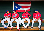 CULIACAN, MEXICO - FEBRUARY 4, 2017: Dereck Rodriguez #20, Fernando Cabrera #28, Miguel Mejia #27, and Adalberto Flores #43 of Puerto Rico sit in the dugout before the start of the Caribbean Series game against the Dominican Republic at Estadio de los Tomateros on February 4, 2017 in Culiacan, Rosales. (Photo by Jean Fruth)