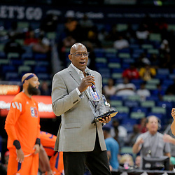 Aug 25, 2019; New Orleans, LA, USA; Big Three commissioner Clyde Drexler during the Big Three Playoffs at the Smoothie King Center. Mandatory Credit: Derick E. Hingle-USA TODAY Sports