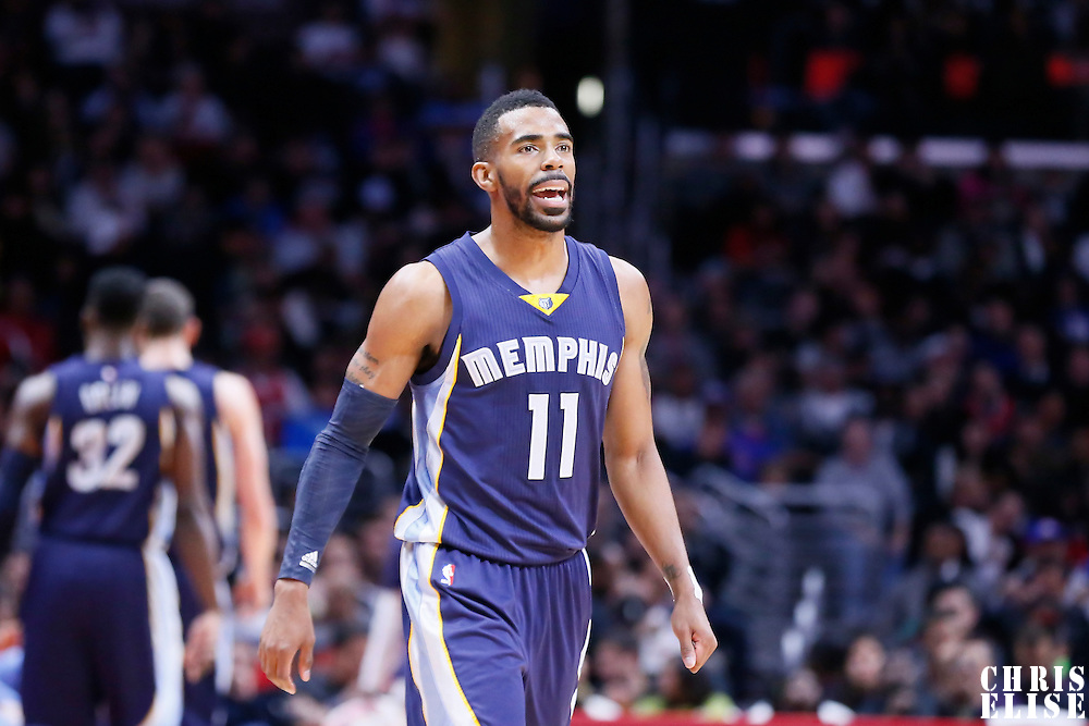 23 February 2015:  Memphis Grizzlies guard Mike Conley (11) is seen during the Memphis Grizzlies 90-87 victory over the Los Angeles Clippers, at the Staples Center, Los Angeles, California, USA.