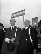 """06/12/1960<br /> 12/06/1960<br /> 06 December 1960<br /> Inaugural flight of new Irish Boeing Jetliner """"Padraig"""" to New York. Image shows passengers preparing to depart Dublin Airport (l-r):  Right Honourable R.G. Kinahan E.R.D., J.P., Lord Mayor of Belfast and Mr. David Newburn, Permanent Secretary to the Lord Mayor of Belfast about to bord the aircraft at Dublin Airport."""