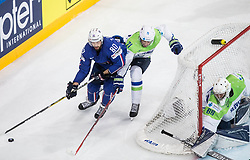 Teddy da Costa of France vs Bostjan Golicic of Slovenia during the 2017 IIHF Men's World Championship group B Ice hockey match between National Teams of France and Slovenia, on May 15, 2017 in AccorHotels Arena in Paris, France. Photo by Vid Ponikvar / Sportida