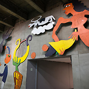 Brightly colored artwork decorating the walls of the Plaza de Armas metro station in downtown Santiago de Chile.