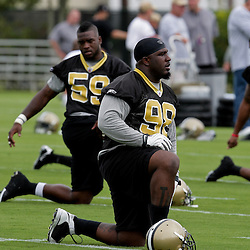 05 June 2009: Saints defensive tackle Sedrick Ellis (98) participates in drills during the New Orleans Saints Minicamp held at the team's practice facility in Metairie, Louisiana.