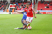 Bury's Reece Brown tackles Milan Lalkovič during the Sky Bet League 1 match between Walsall and Bury at the Banks's Stadium, Walsall, England on 5 September 2015. Photo by Shane Healey.