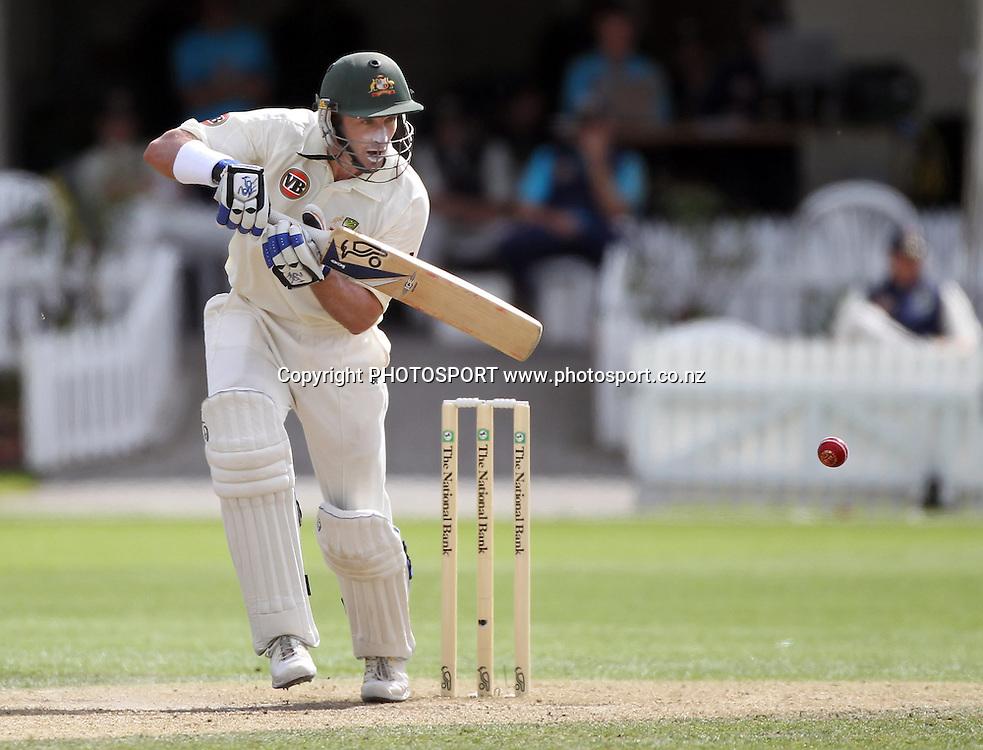 Australian batsman Michael Hussey.<br />Test Match Cricket. 2nd test. Day 3.<br />New Zealand Black Caps versus Australia. Seddon Park, Hamilton, New Zealand. Monday 29 March 2010. <br />Photo: Andrew Cornaga/PHOTOSPORT